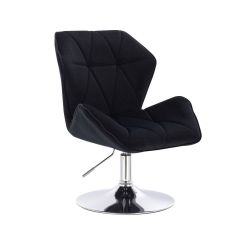 Kosmetická židle MILANO MAX VELUR na stříbrném talíři - černá