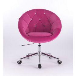 Kosmetické křeslo VERA VELUR na stříbrné podstavě s kolečky - růžové