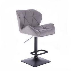 Barová židle MILANO na černé podstavě - šedá