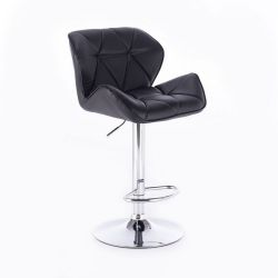 Barová židle MILANO na kulaté stříbrné podstavě - černá