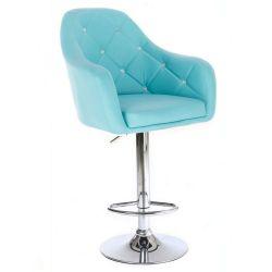 Barová židle ROMA na stříbrné kulaté podstavě - tyrkysová