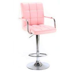 Barová židle VERONA na stříbrné kulaté podstavě - růžová