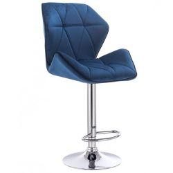 Barová židle MILANO MAX VELUR na stříbrném talíři - modrá