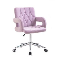 Kosmetická židle BOSTON VELUR na stříbrné podstavě s kolečky - fialový vřes