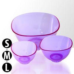 Sada 3 silikonových misek na alginátové masky - fialové (rozměry S+M+L) (A)
