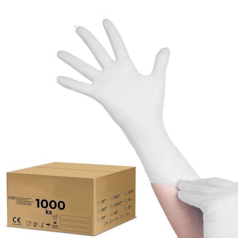 Jednorázové nitrilové rukavice bílé S - karton 10ks