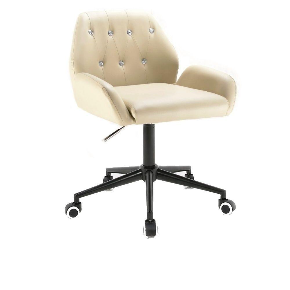 Kosmetická židle LION na černé podstavě s kolečky - krémová