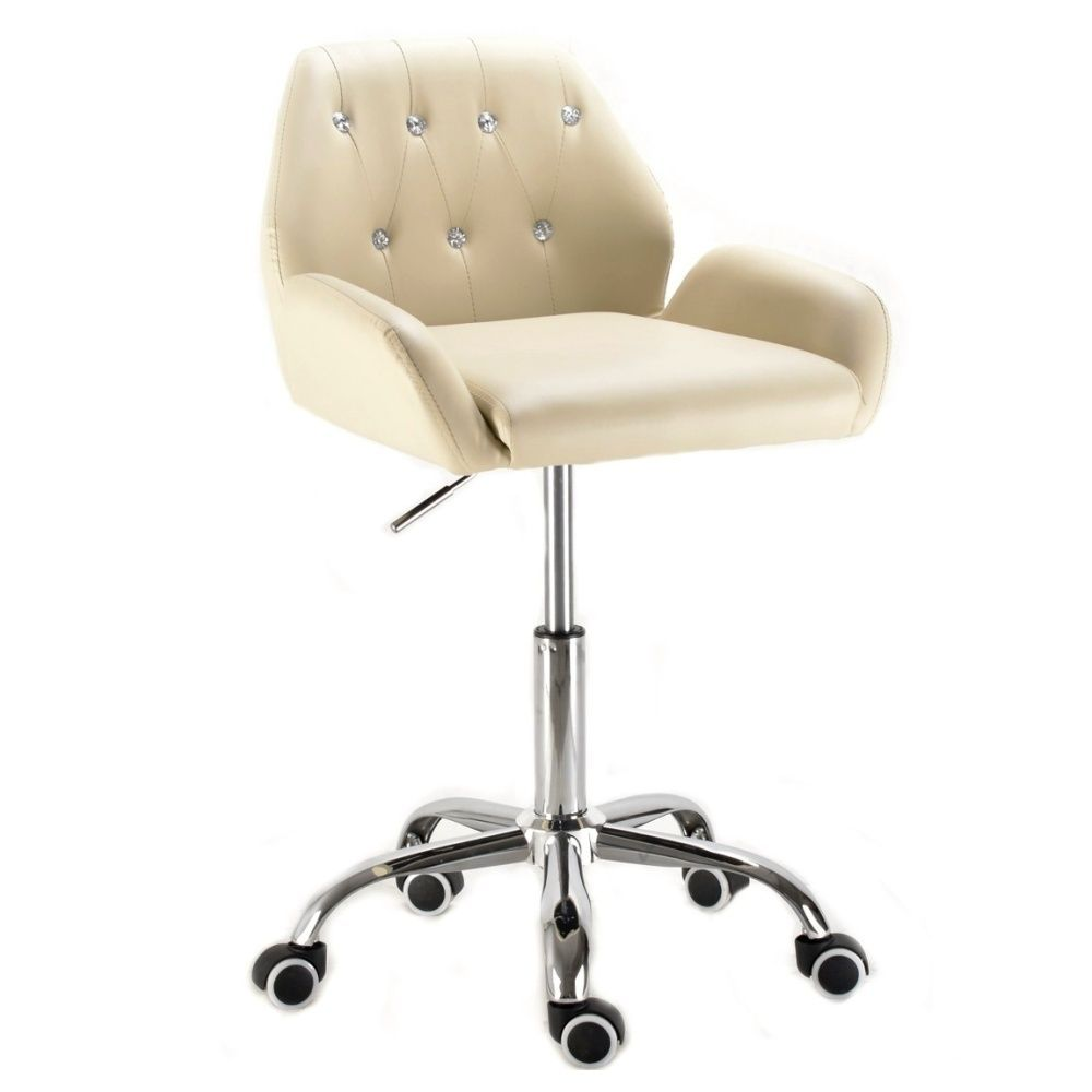 Kosmetická židle LION na podstavě s kolečky krémová