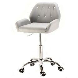 Kosmetická židle LION na stříbrné podstavě s kolečky - šedá