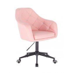 Kosmetická židle ROMA na černé podstavě s kolečky - růžová