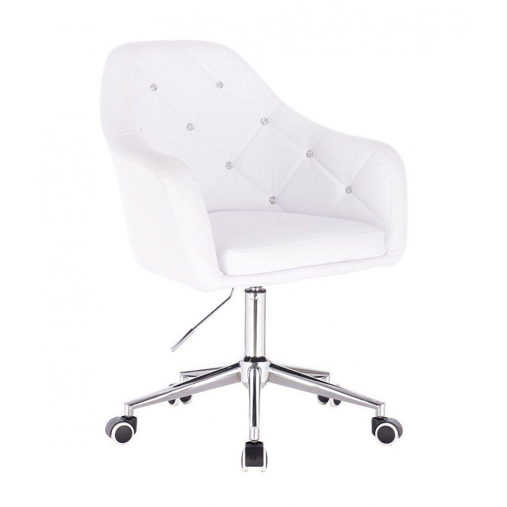 Kosmetická židle ROMA na podstavě s kolečky - bílá