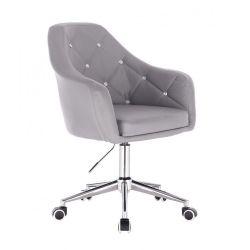 Kosmetická židle ROMA na podstavě s kolečky - šedá
