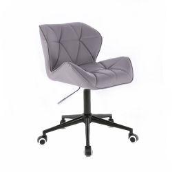 Židle MILANO na černé podstavě s kolečky šedá