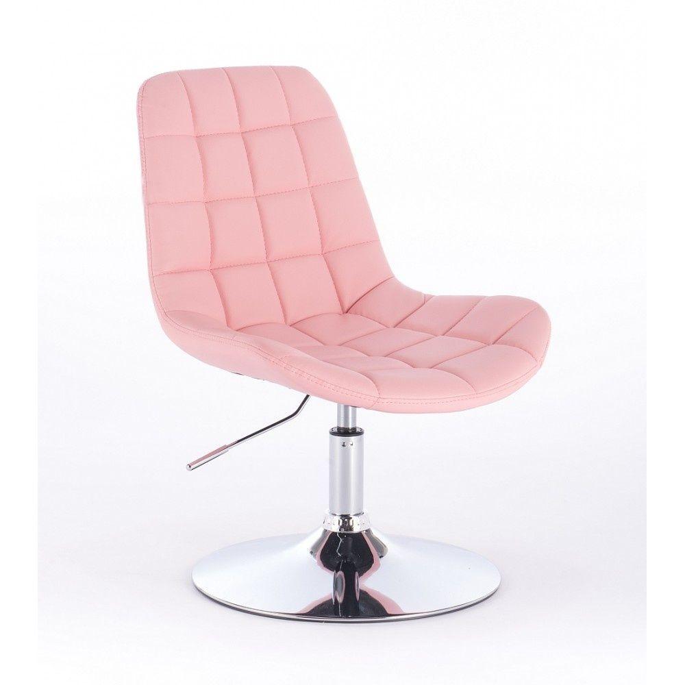 Kosmetická židle PARIS na kulaté podstavě růžová