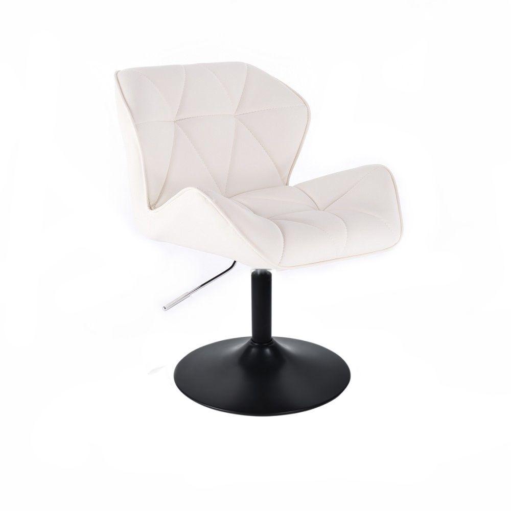 Kosmetická židle MILANO na černé kulaté podstavě - bílá