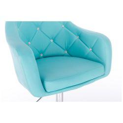 Kosmetická židle ROMA na černé kulaté podstavě - tyrkysová