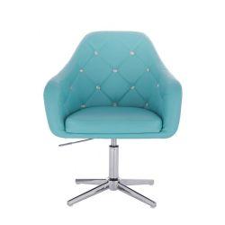 Kosmetická židle ROMA na stříbrném kříži - tyrkysová