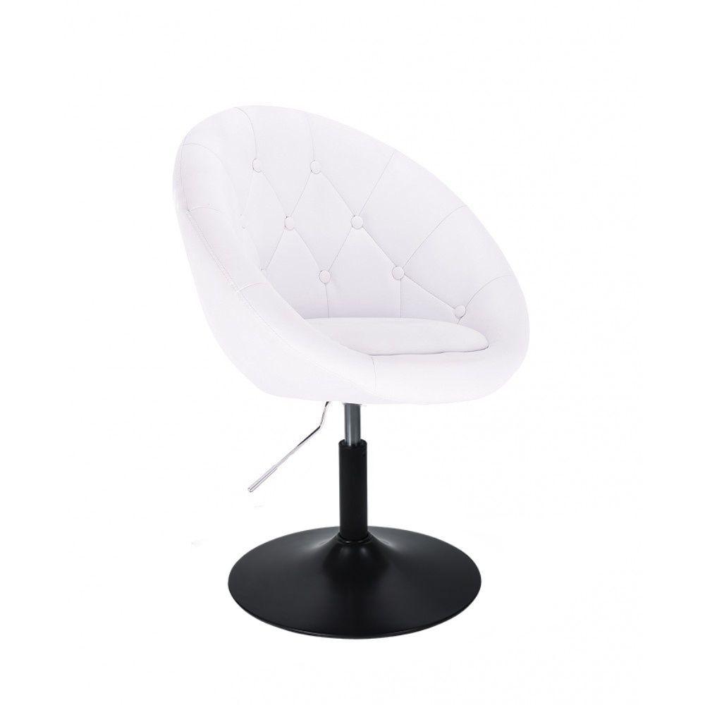 Kosmetické křeslo VERA na černém talíři - bílé