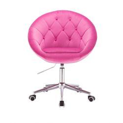 Kosmetické křeslo VERA VELUR na stříbrné podstavě s kolečky - růžová