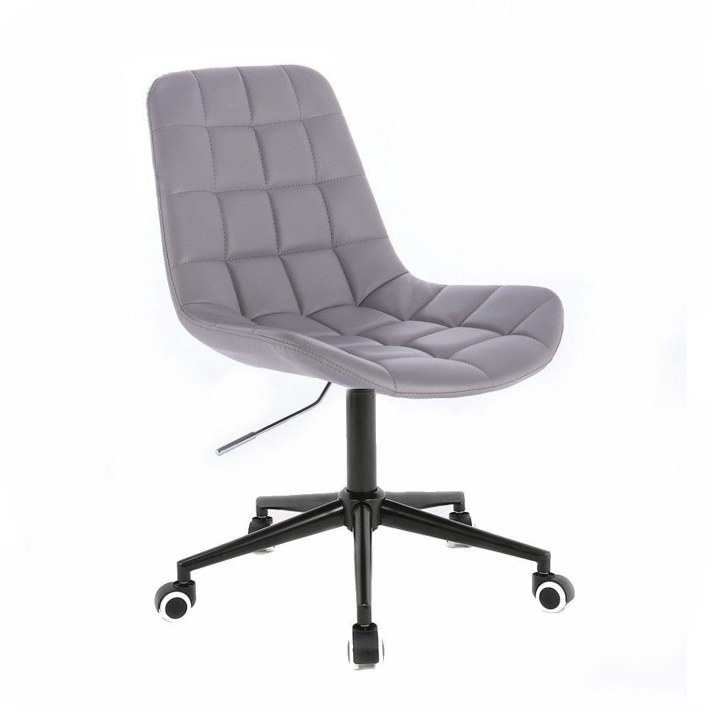 Kosmetická židle HC590 na černé podstavě s kolečky - šedá