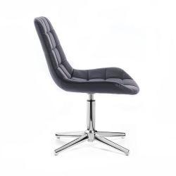 Kosmetická židle HC590 na stříbrném kříži - černá