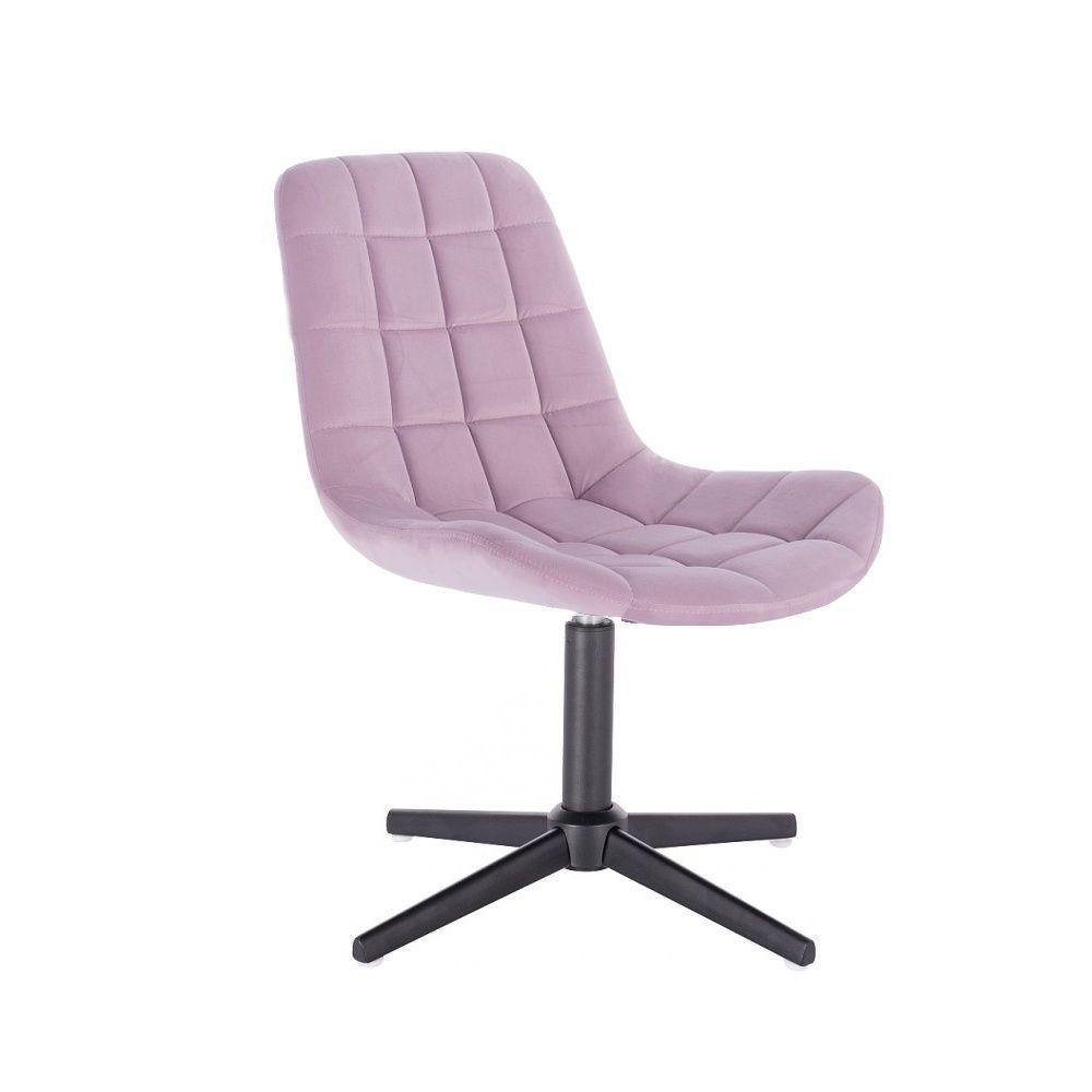 Kosmetická židle HC-590 VELUR na černém kříži - fialový vřes