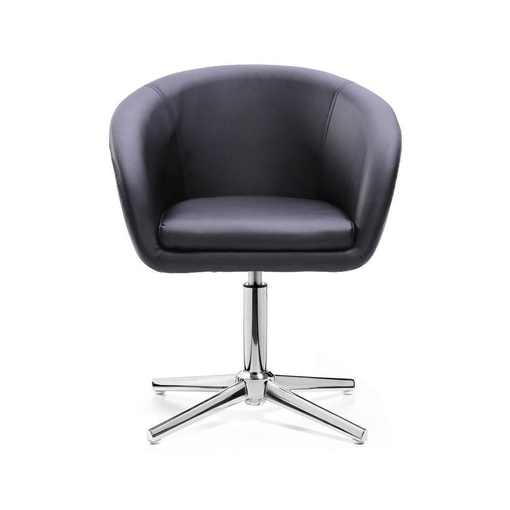 Kosmetická židle VENICE na stříbrném kříži - černá