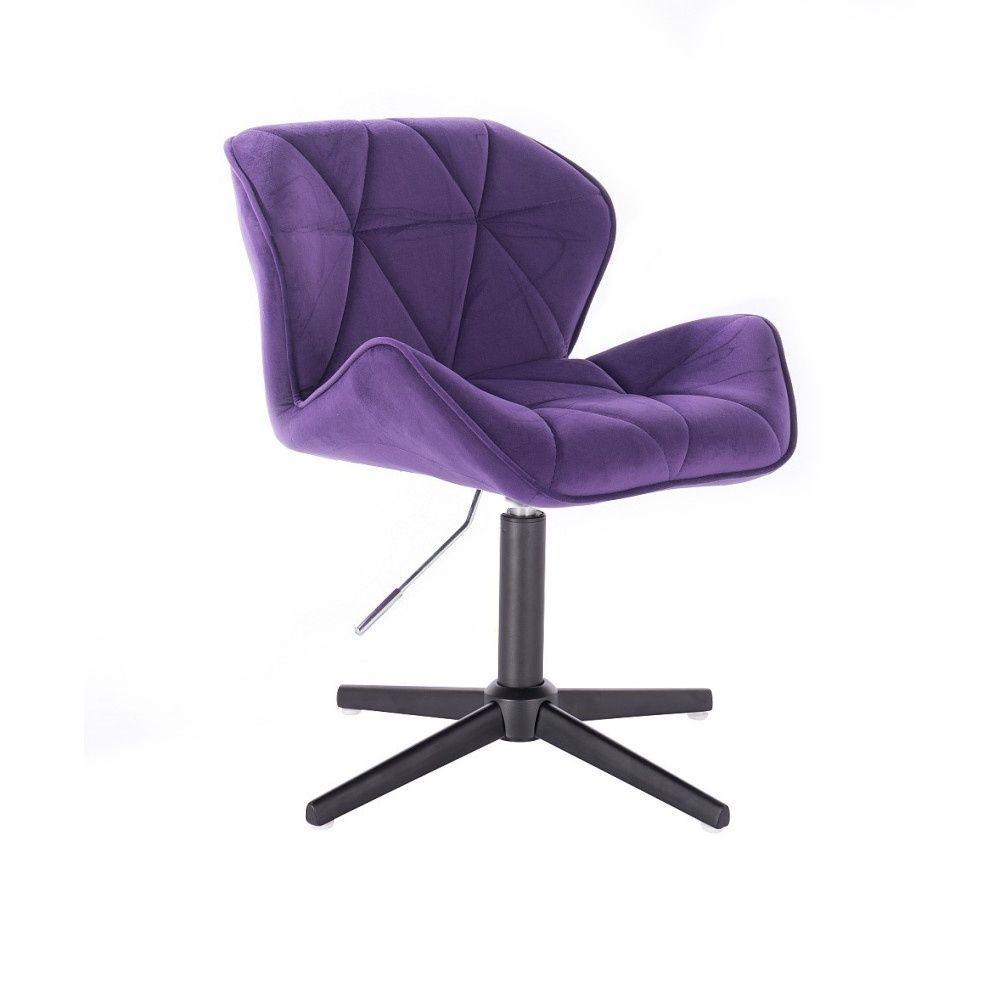 Kosmetická židle MILANO VELUR na černém kříži - fialová