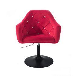 Kosmetické křeslo ROMA VELUR na černém talíři - červená