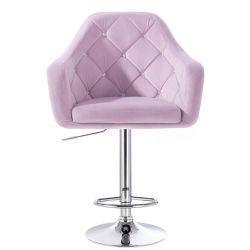 Barová židle ROMA VELUR na kulaté stříbrné podstavě - fialový vřes