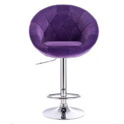 Barová židle VERA VELUR na kulaté stříbrné podstavě - fialová