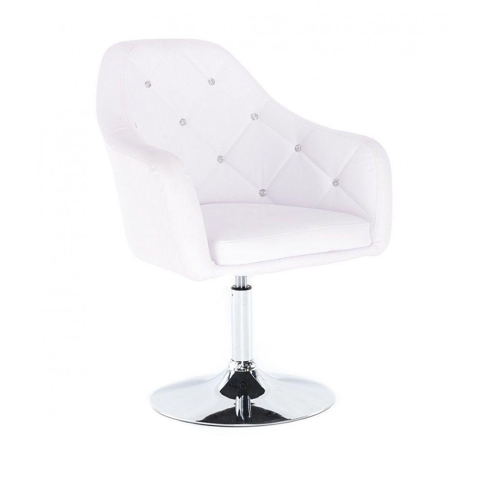 Kosmetická židle ROMA na kulaté podstavě - bílá