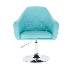 Kosmetická židle ROMA na kulaté podstavě - tyrkysová
