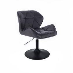 Kosmetická židle MILANO na černé kulaté podstavě - černá