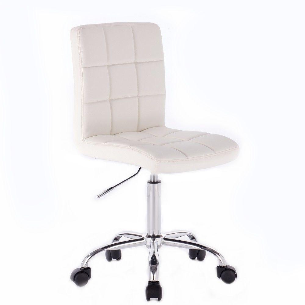 Kosmetická židle TOLEDO na podstavě s kolečky bílá