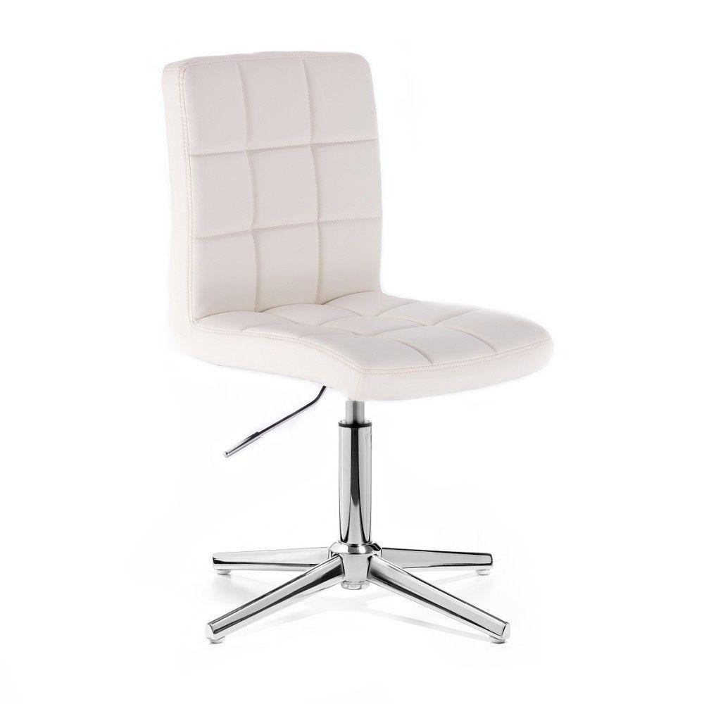 Kosmetická židle TOLEDO na stříbrném kříži - bílá