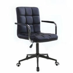 Kosmetická židle VERONA na černé podstavě s kolečky - černá