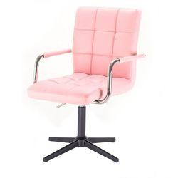 Kosmetická židle VERONA na černém kříži - růžová