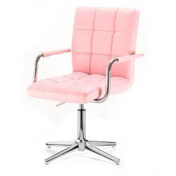 Kosmetická židle VERONA na stříbrném kříži - růžová