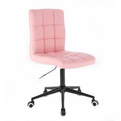 Kosmetická židle 1015K na černé podstavě s kolečky - růžová