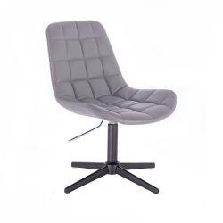 Kosmetická židle HC590 na černém kříži - šedá