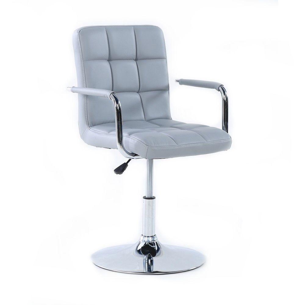Kosmetická židle VERONA na stříbrném talíři - šedá