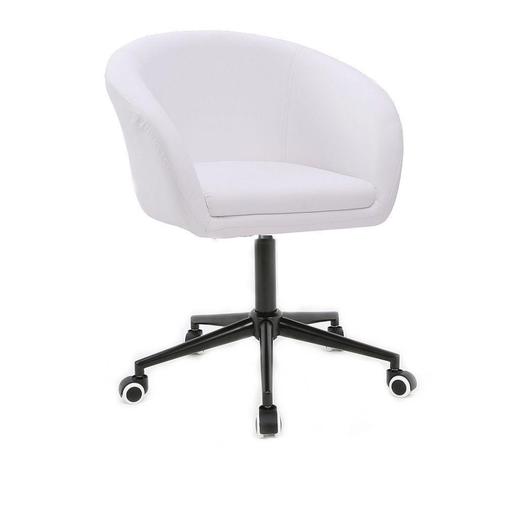 Židle HC- 8326K na černé podstavě s kolečky - bílá